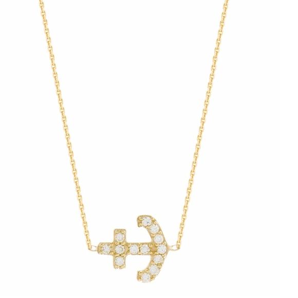 Jewelry - Mini Cz Anchor Necklace
